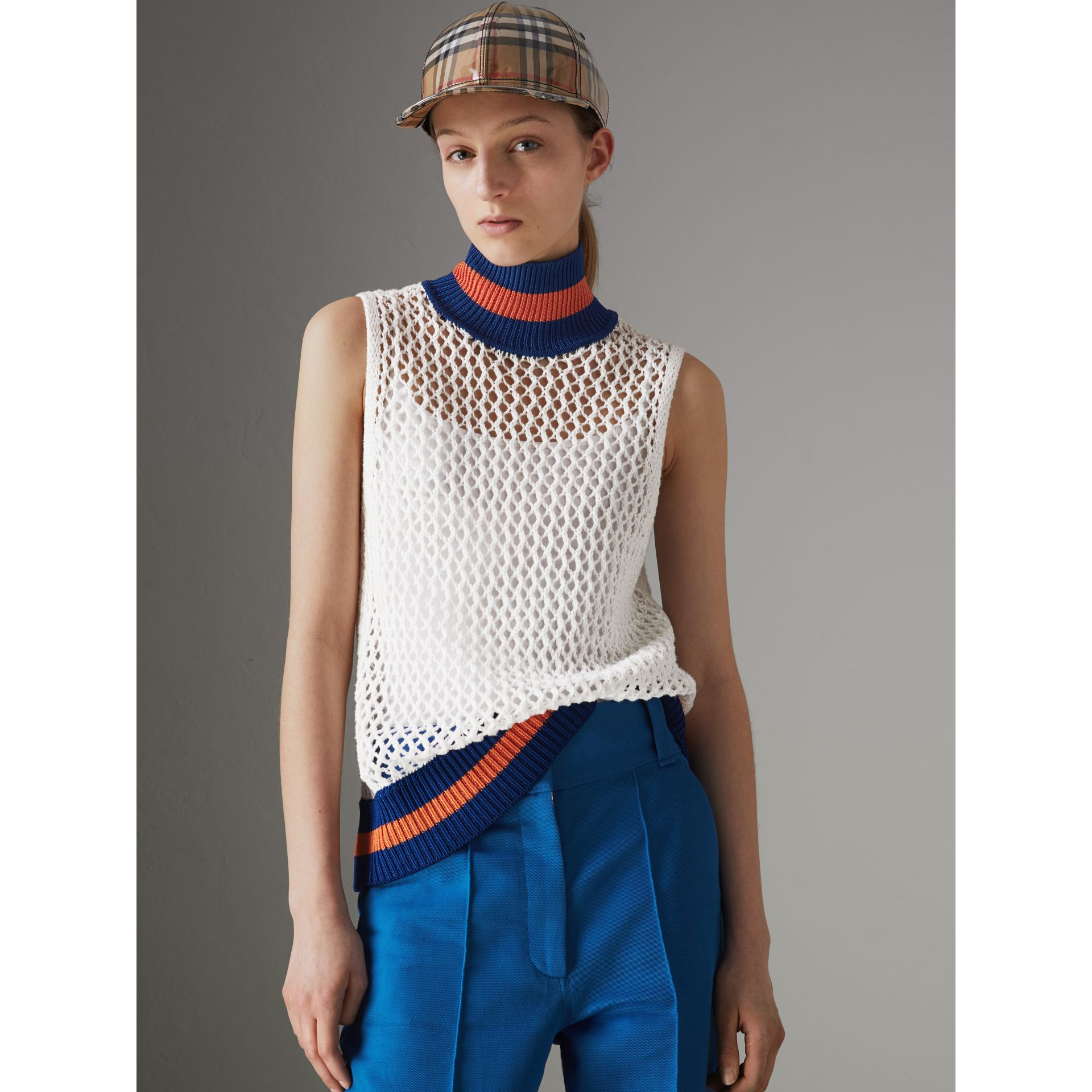 Sleeveless Mesh Knit Turtleneck Top in White - Women | Burberry - gallery image 4