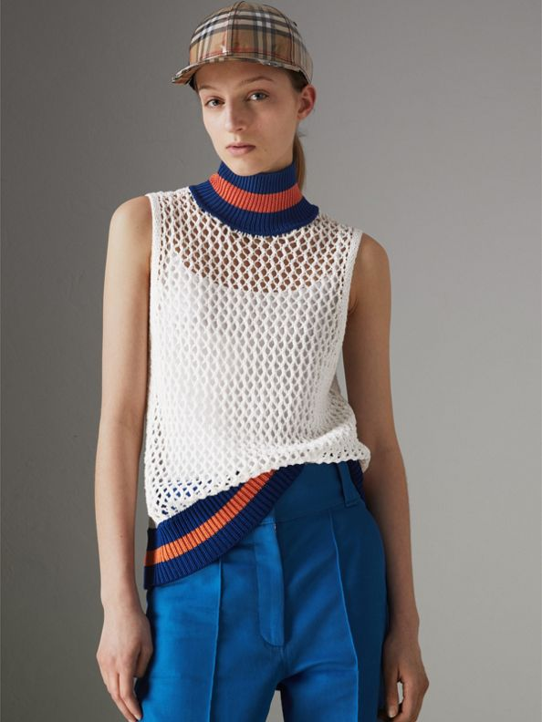 Sleeveless Mesh Knit Turtleneck Top in White