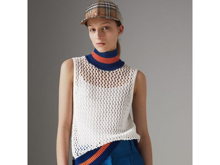 Sleeveless Mesh Knit Turtleneck Top in White - Women | Burberry - cell image 4