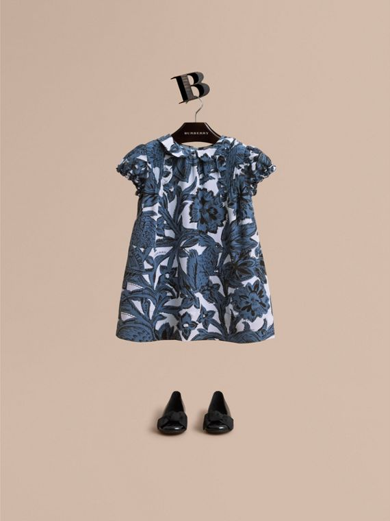 Puff-sleeve Beasts Print Silk Dress in Stone Blue