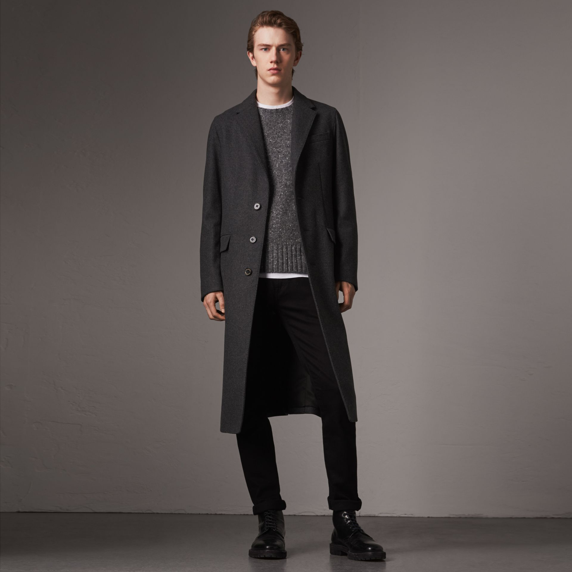 Melange Wool Blend Coat in Dark Grey - Men | Burberry - gallery image 0