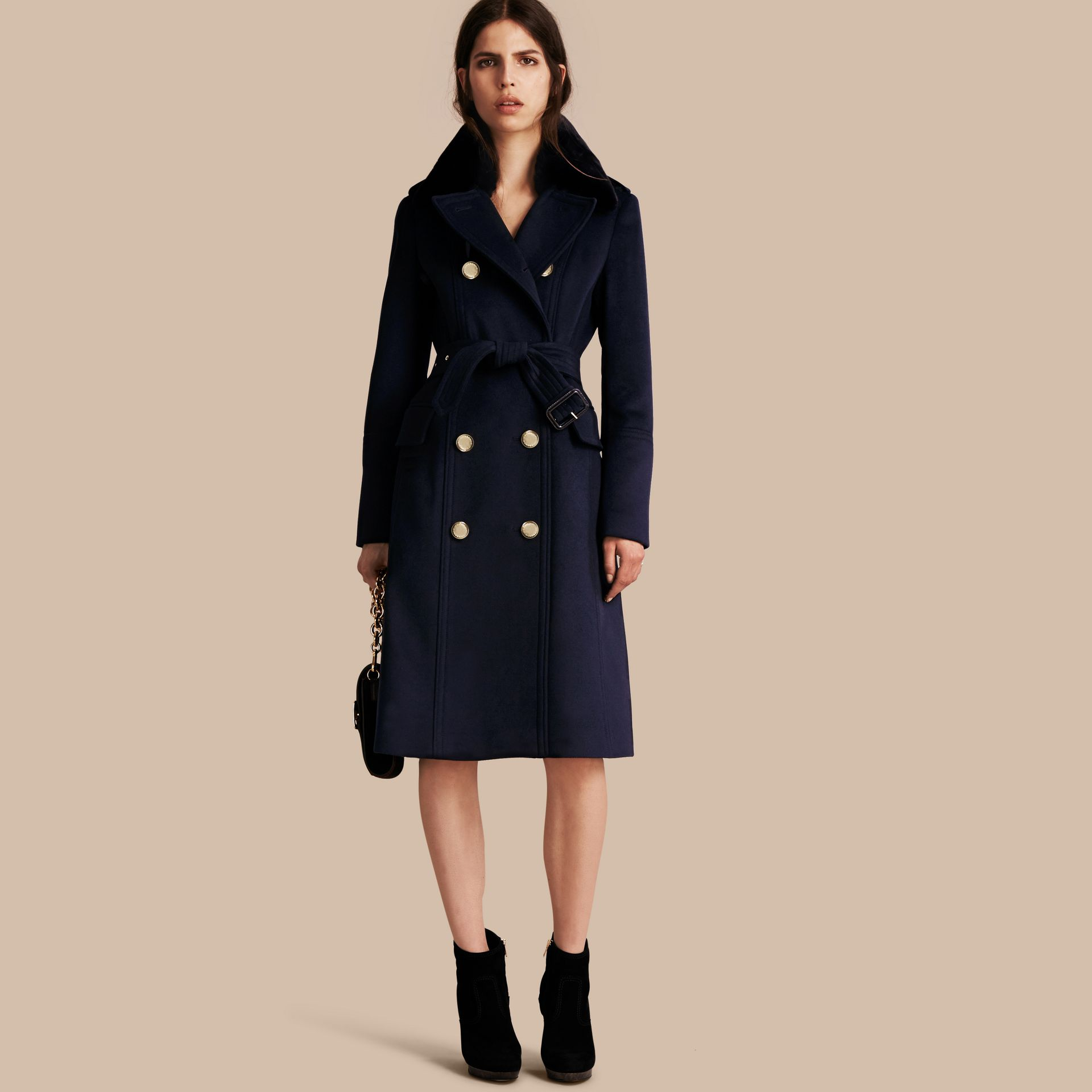 Navy Wool Cashmere Trench Coat with Detachable Fur Collar - gallery image 1