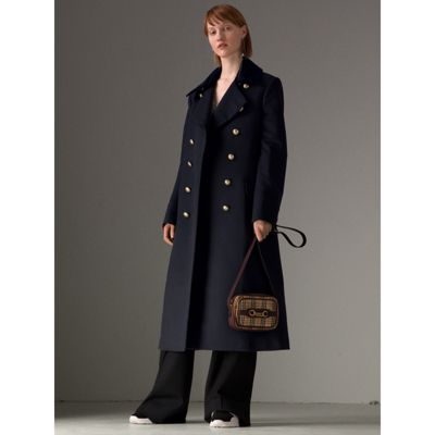 Double-Breasted Wool Military Coat in Blue