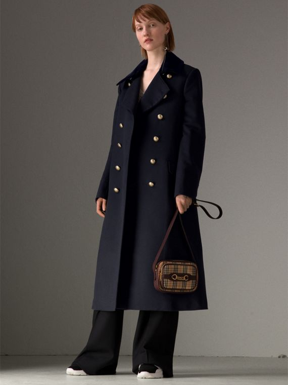 Doeskin Wool Military Coat in Dark Navy