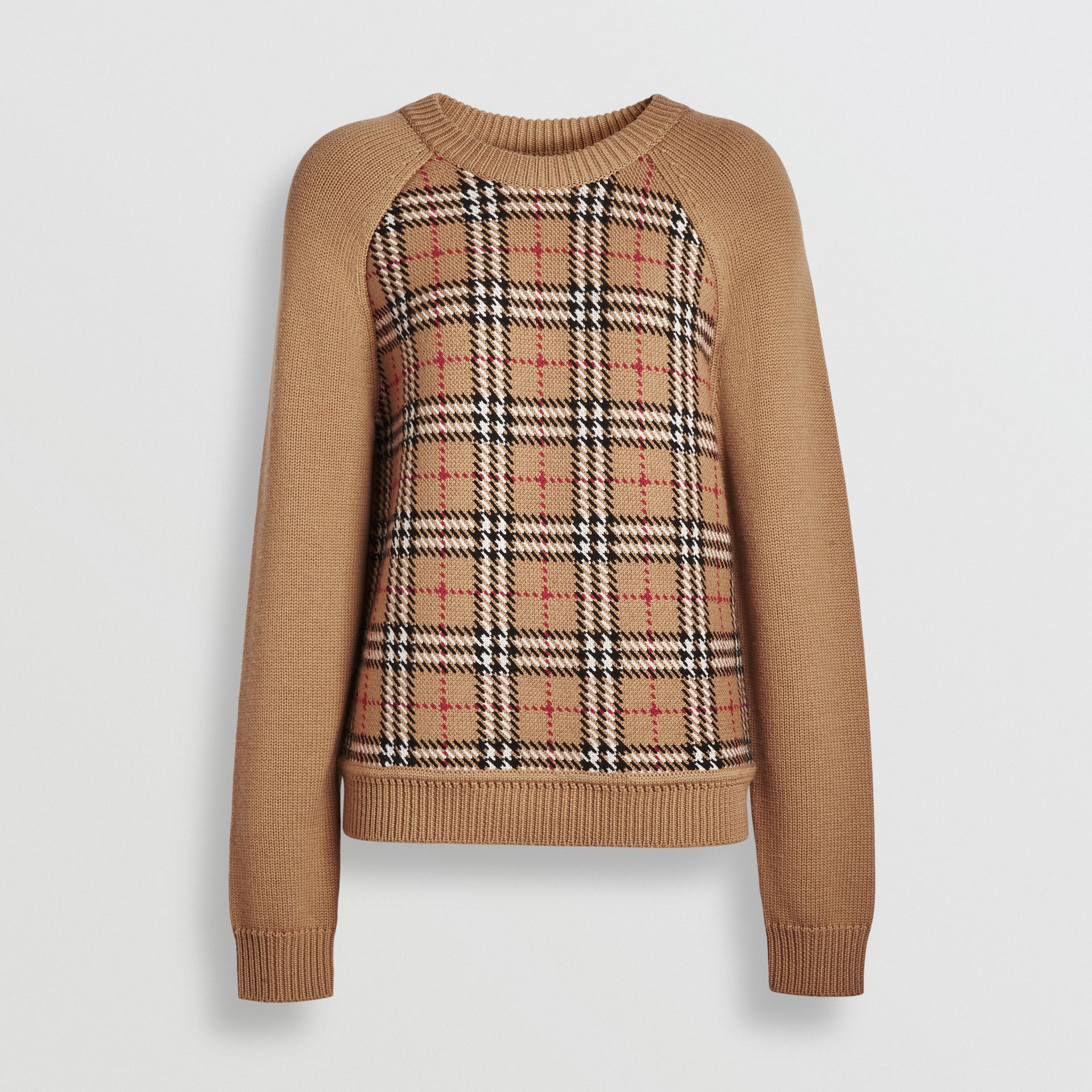 Vintage Check Wool Jacquard Sweater in Antique Yellow - Women | Burberry Hong Kong - gallery image 3