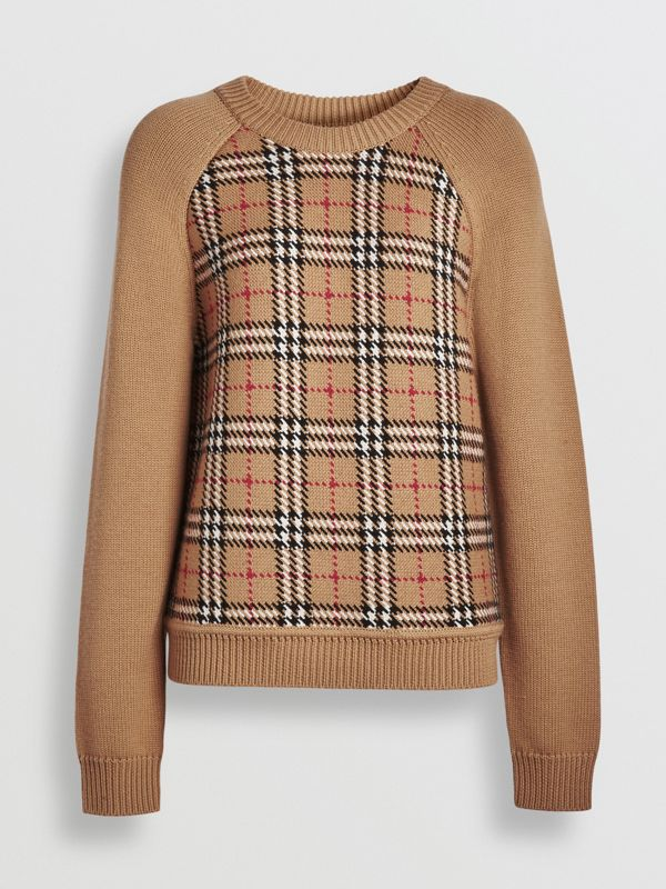 Vintage Check Wool Jacquard Sweater in Antique Yellow - Women | Burberry - cell image 3