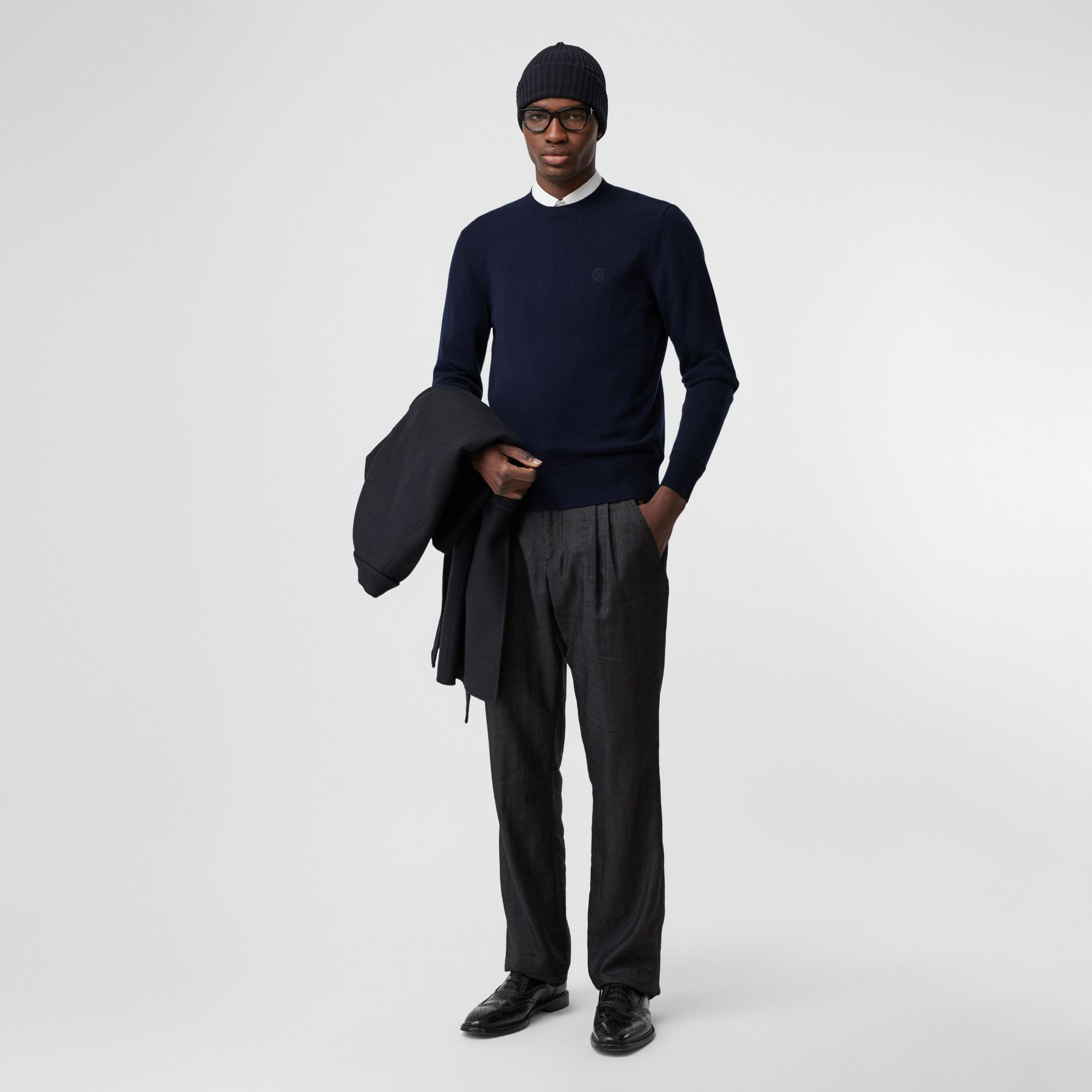 Monogram Motif Cashmere Sweater in Navy - Men | Burberry - gallery image 0