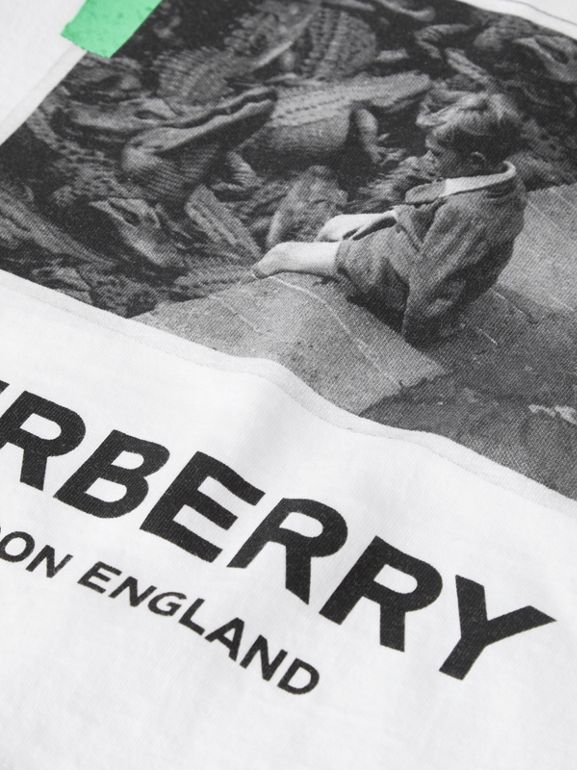 Vintage Photo Print Cotton T-shirt in White - Children | Burberry - cell image 1
