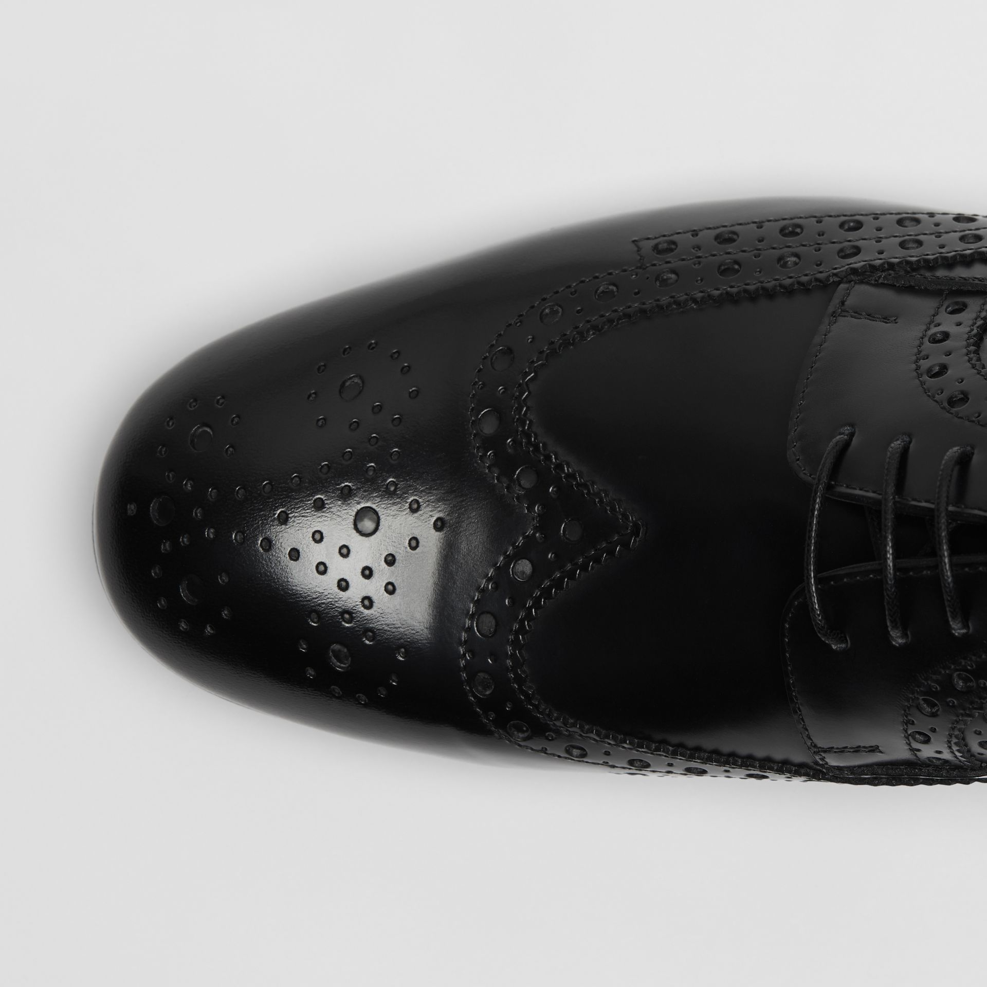 Brogue Detail Leather Derby Shoes in Black - Men | Burberry - gallery image 1