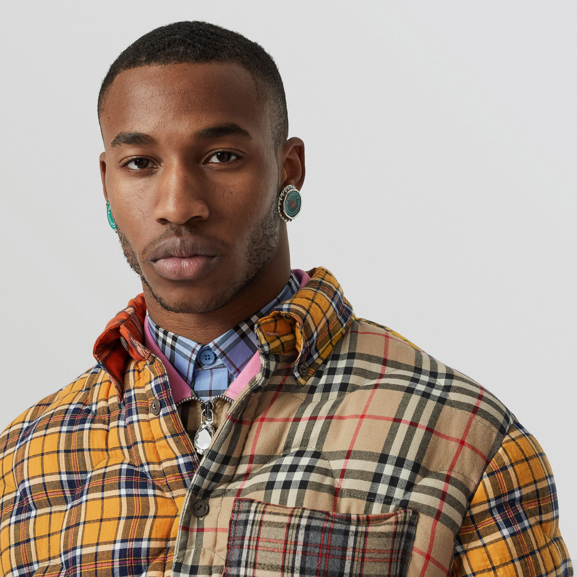 Contrast Check Cotton Flannel Puffer Overshirt in Yellow/white - Men | Burberry United Kingdom - gallery image 1