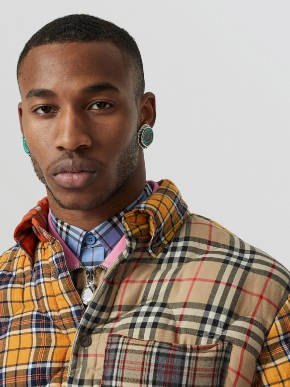 Contrast Check Cotton Flannel Puffer Overshirt in Yellow/white - Men | Burberry - cell image 1