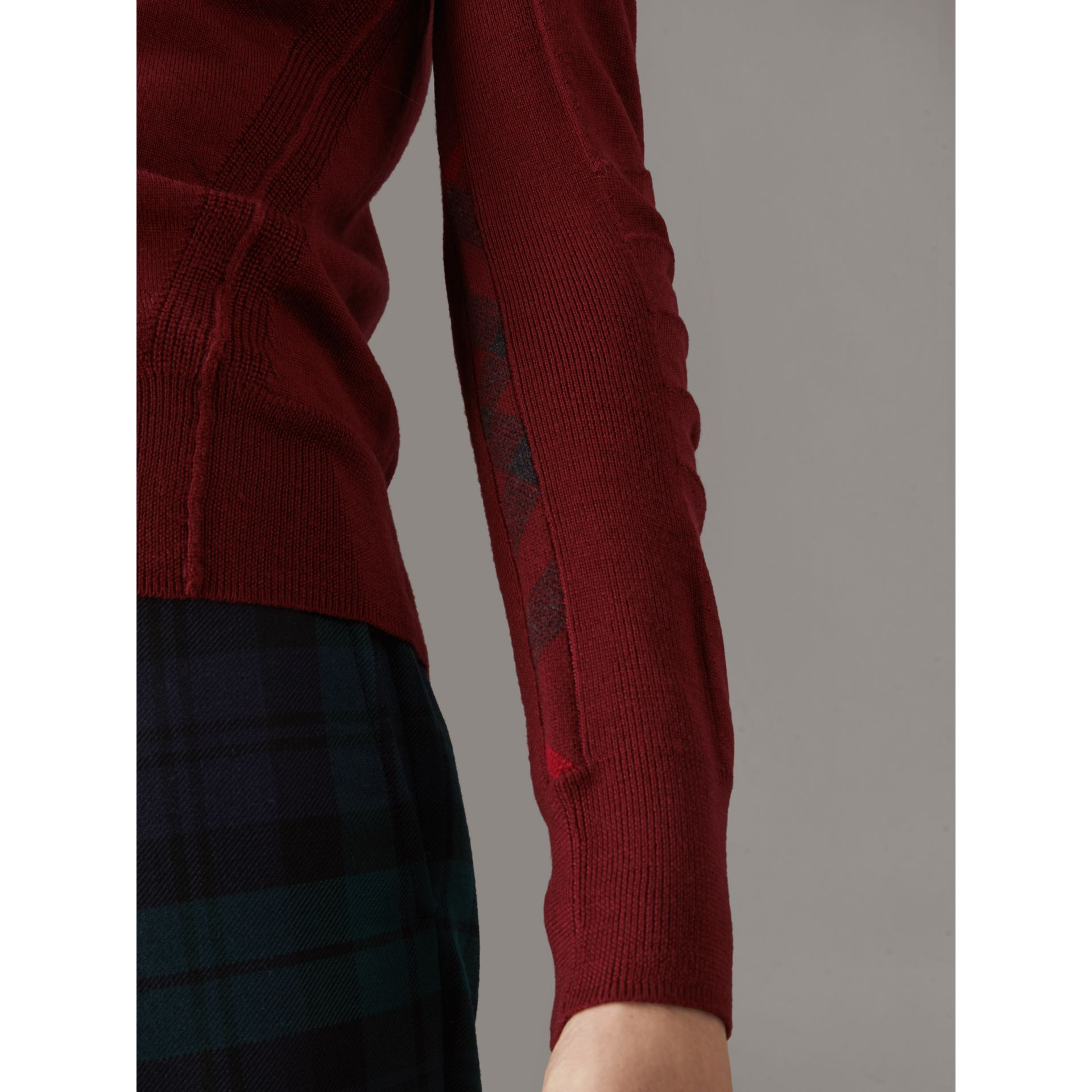 Check Detail Merino Wool V-neck Sweater in Burgundy - Men | Burberry - gallery image 2