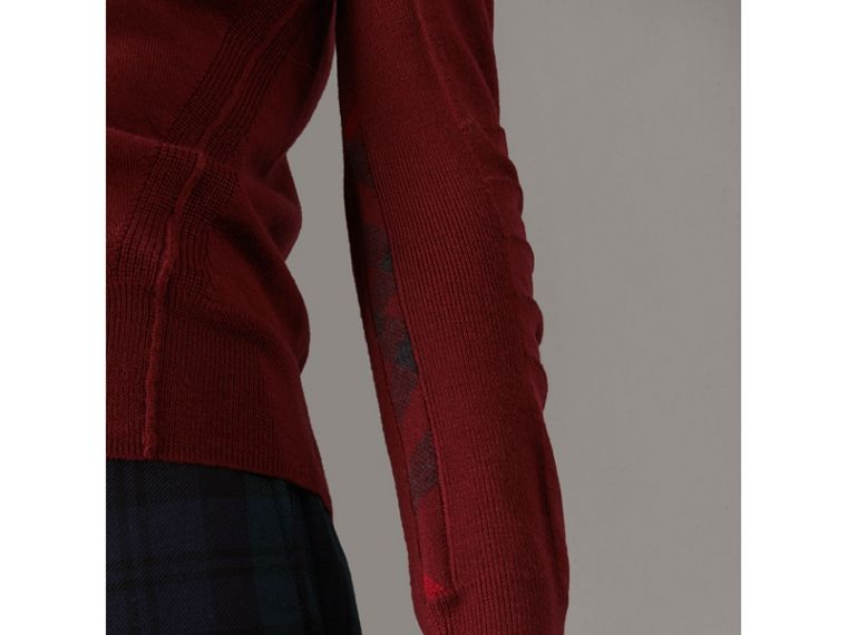 Check Detail Merino Wool V-neck Sweater in Burgundy - Men | Burberry Australia - cell image 1