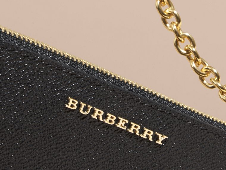 Leather Clutch Bag with Check Lining in Black - Women | Burberry - cell image 1