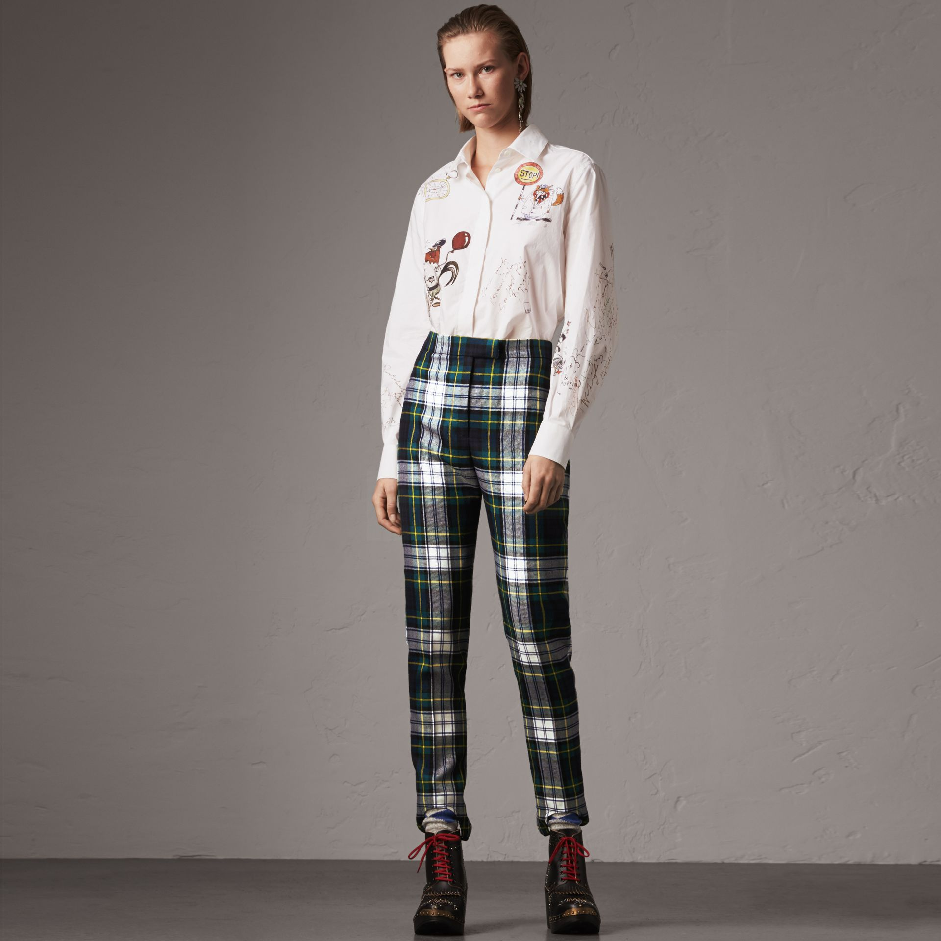 Tartan Wool High-waisted Stirrup Trousers in Ink Blue - Women | Burberry - gallery image 0