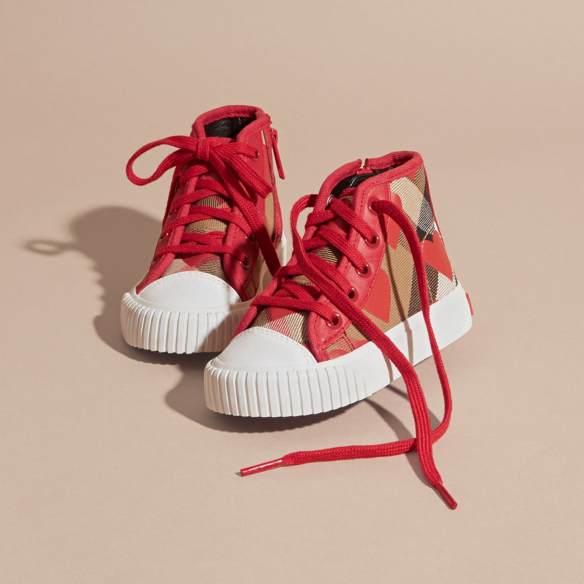 Military red Leather Trim Heart Print Check High-top Trainers Military Red - gallery image 3