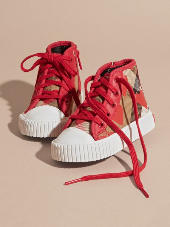 Military red Leather Trim Heart Print Check High-top Trainers Military Red - cell image 2