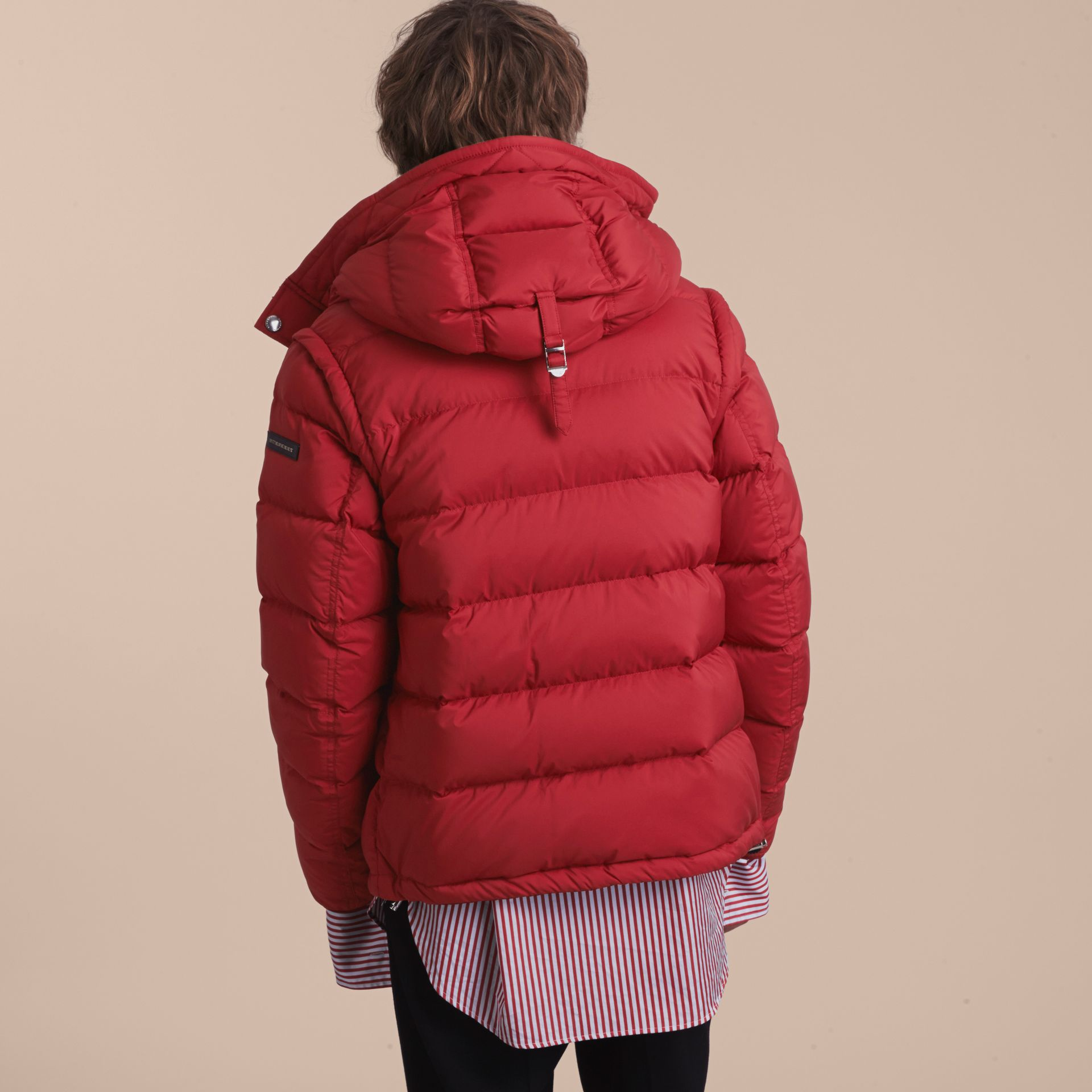 Down-filled Hooded Jacket with Detachable Sleeves in Parade Red - gallery image 7
