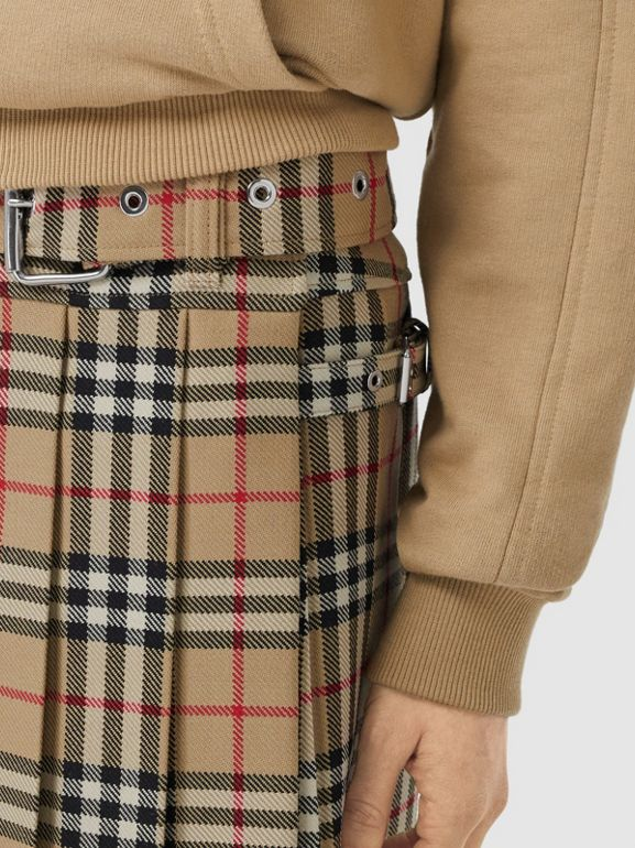 Vintage Check Wool Twill Kilt in Archive Beige - Women | Burberry United Kingdom - cell image 1