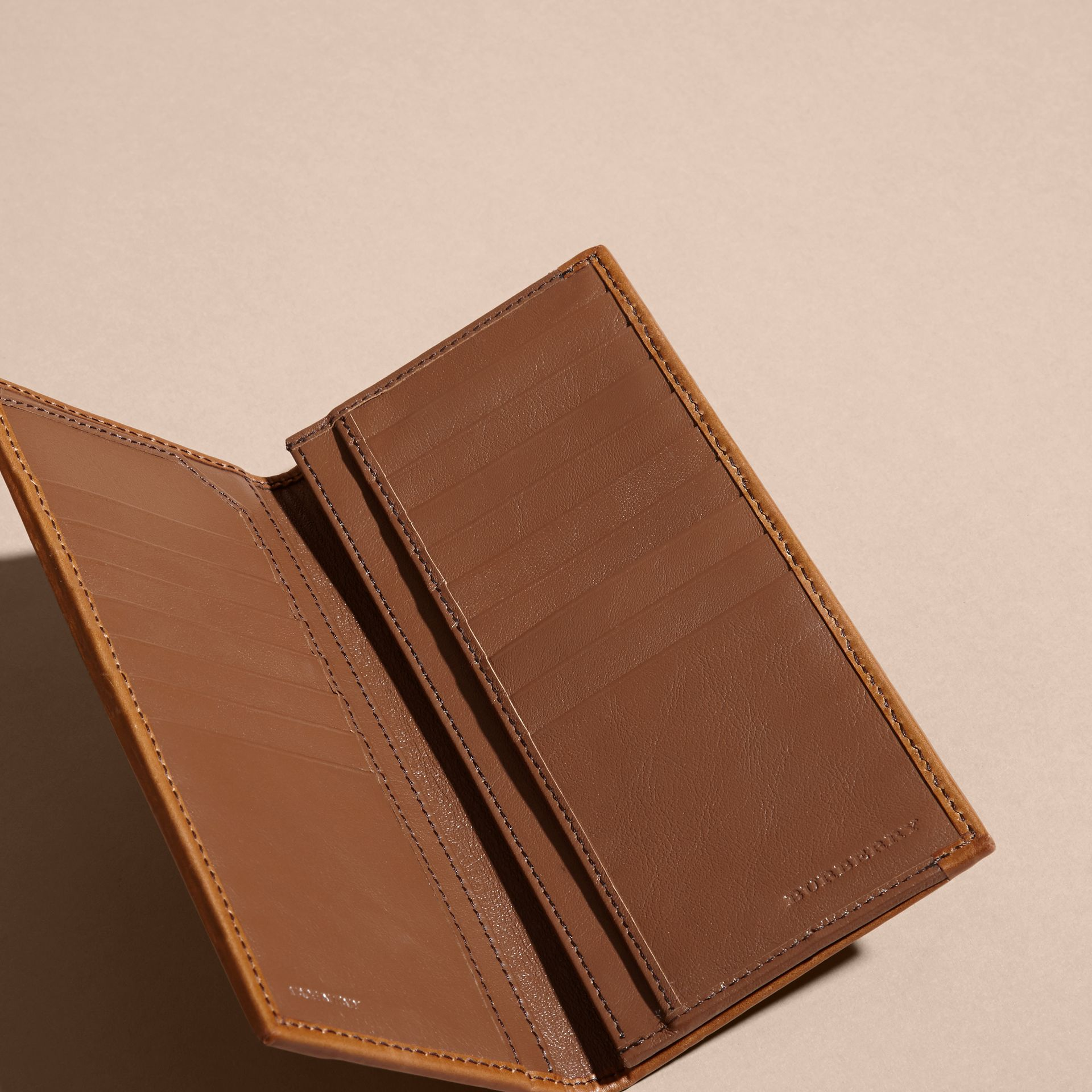 Small Horseferry Check Currency Wallet in Tan - Men | Burberry United Kingdom - gallery image 4