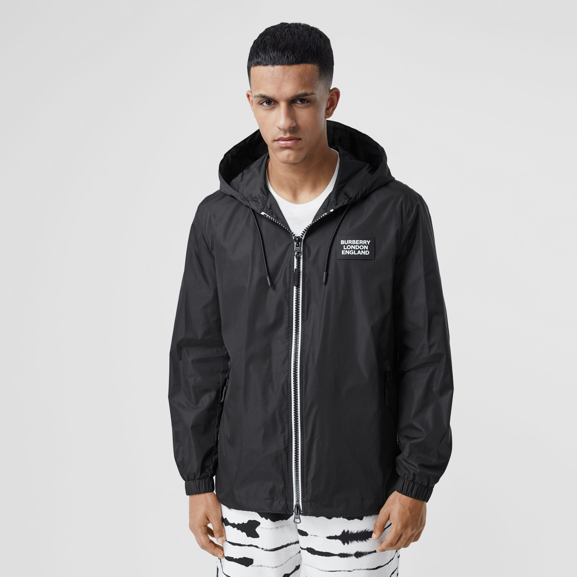 Logo Appliqué ECONYL® Lightweight Hooded Jacket in Black - Men | Burberry - gallery image 4