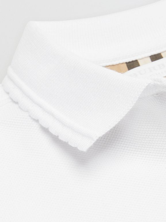 Logo Print Cotton Piqué Polo Shirt in White | Burberry - cell image 1
