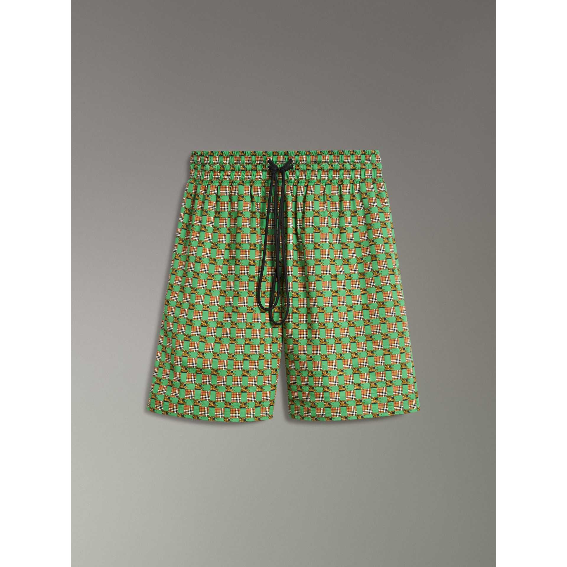 Equestrian Check Print Cotton Drawcord Shorts in Dark Forest Green - Women | Burberry - gallery image 3