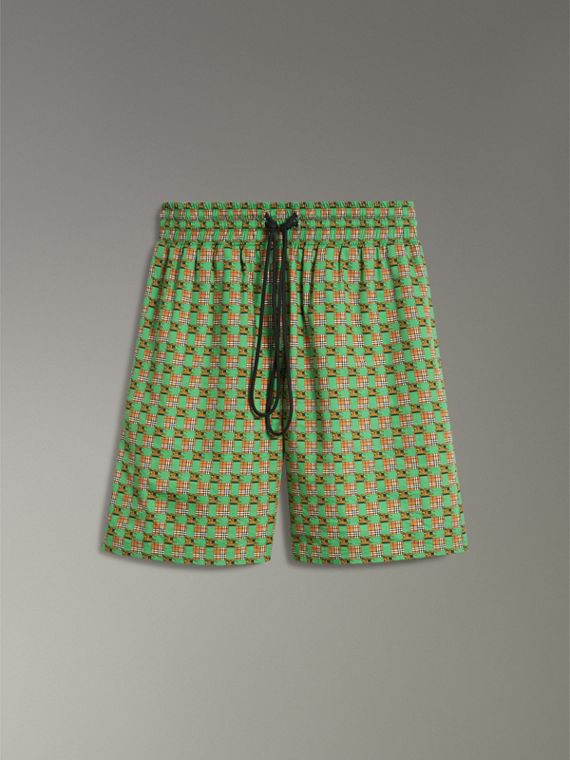 Equestrian Check Print Cotton Drawcord Shorts in Dark Forest Green - Women | Burberry - cell image 3