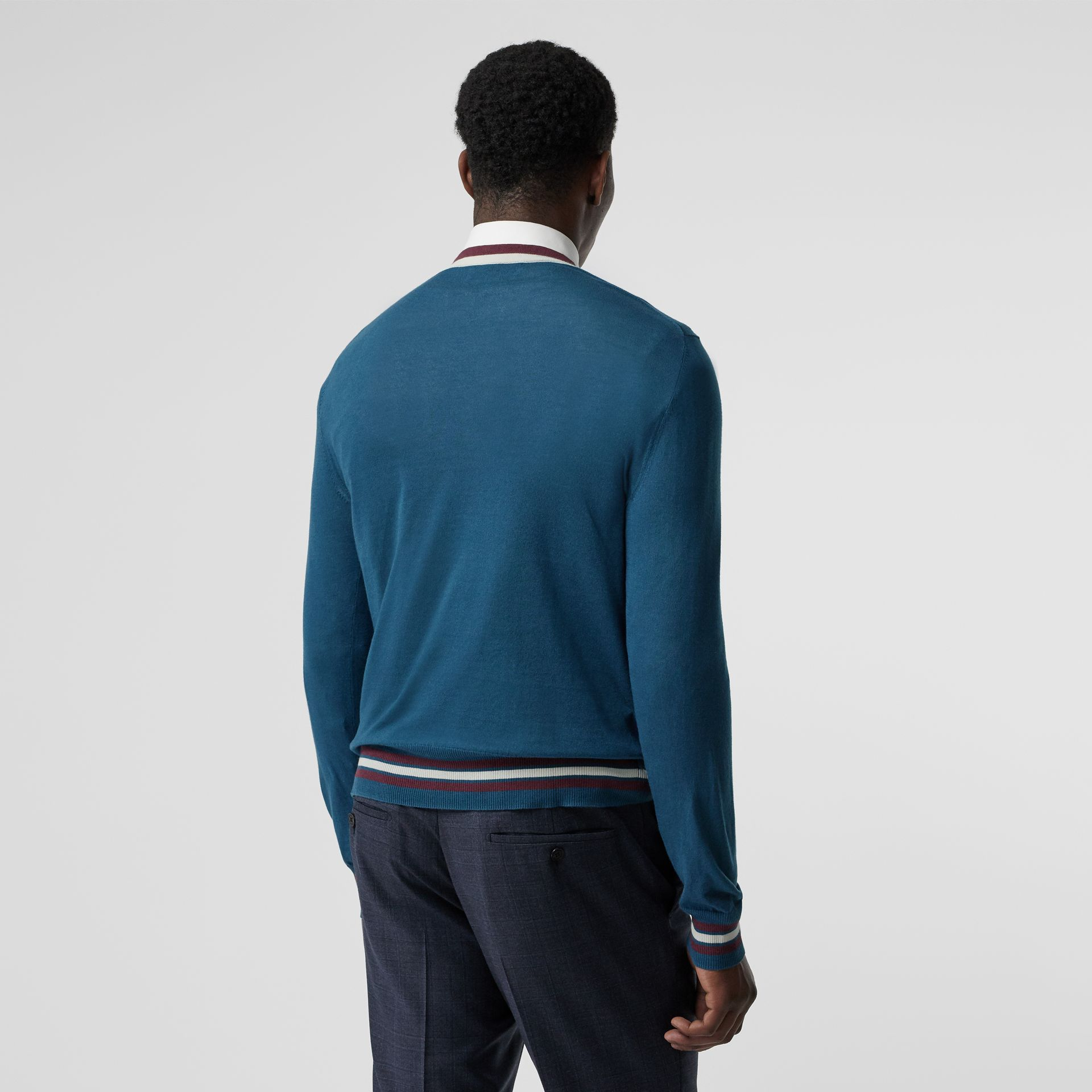 Embroidered Crest Cotton Silk Sweater in Dark Teal Blue - Men | Burberry - gallery image 2