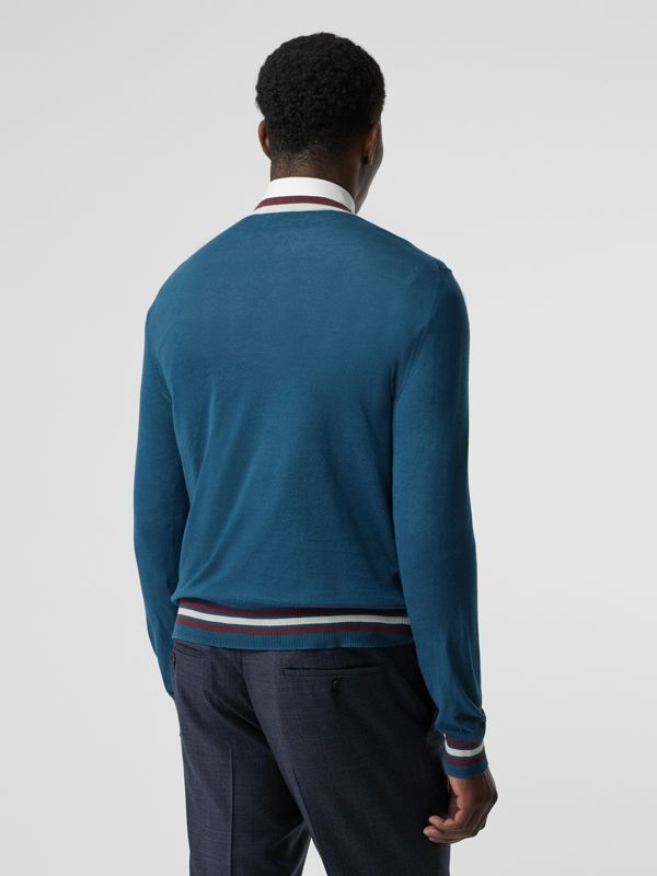 Embroidered Crest Cotton Silk Sweater in Dark Teal Blue - Men | Burberry - cell image 2