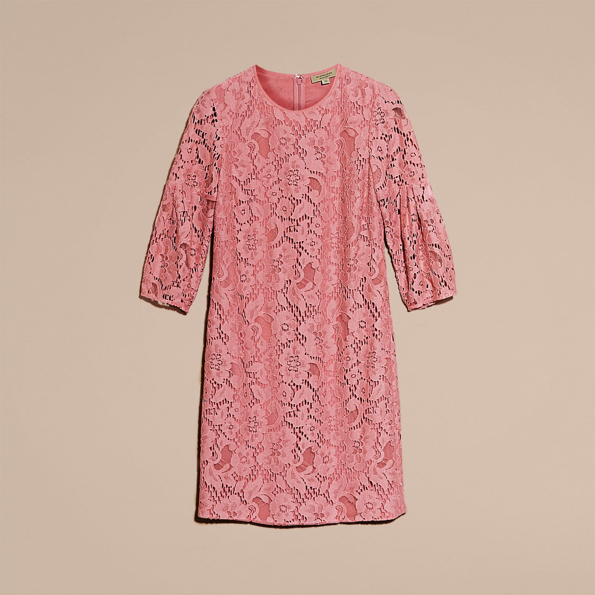 Puff-sleeved Floral Lace Shift Dress Antique Rose - gallery image 4