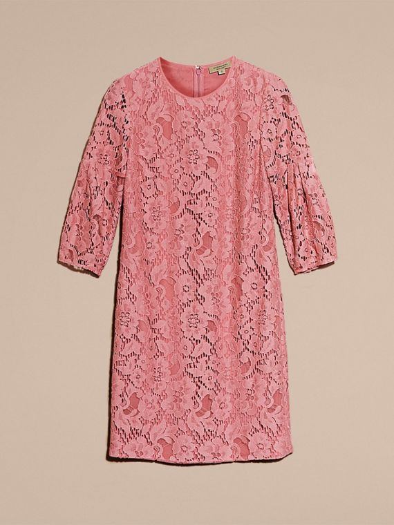 Puff-sleeved Floral Lace Shift Dress Antique Rose - cell image 3