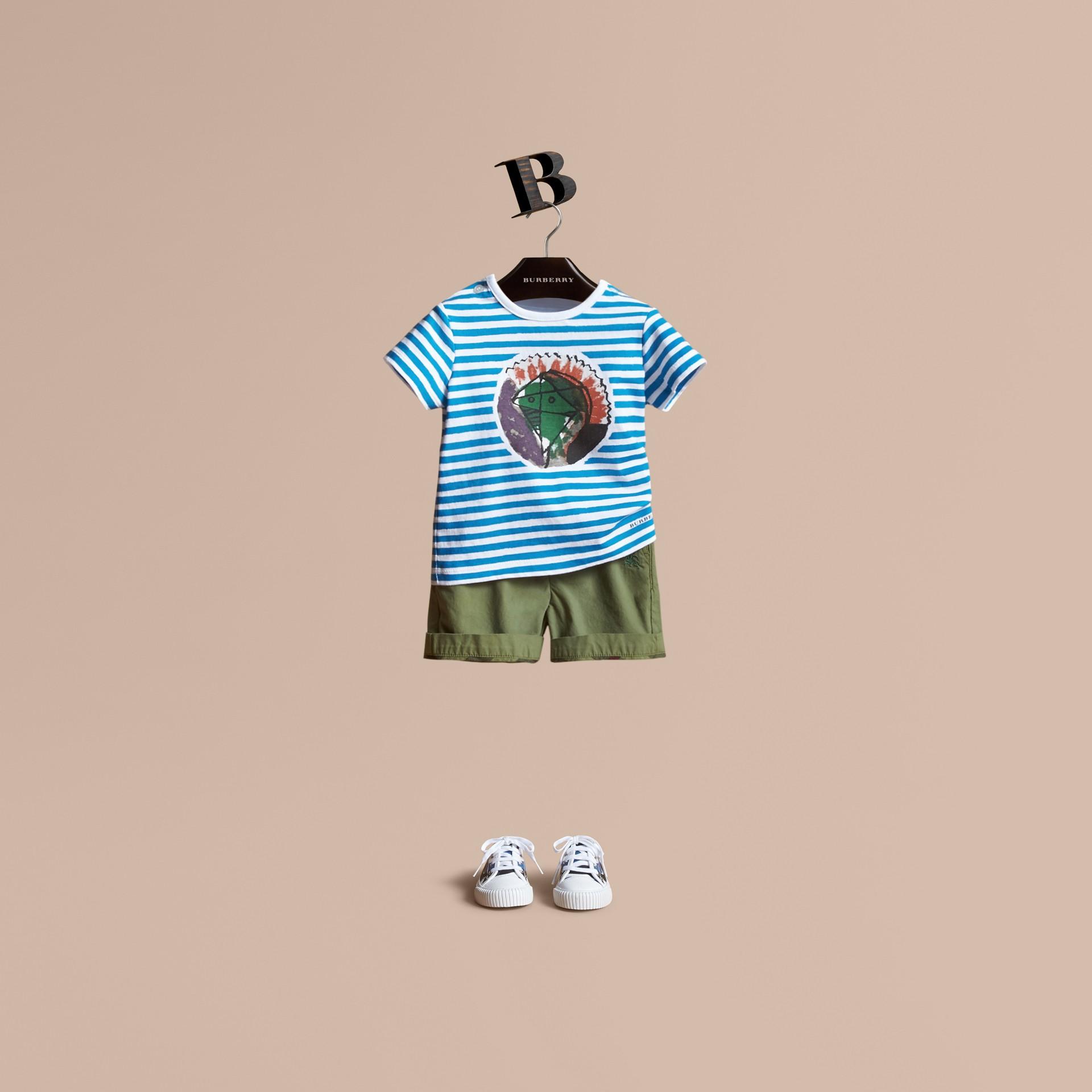 Pallas Heads Print Striped Cotton T-shirt - gallery image 1