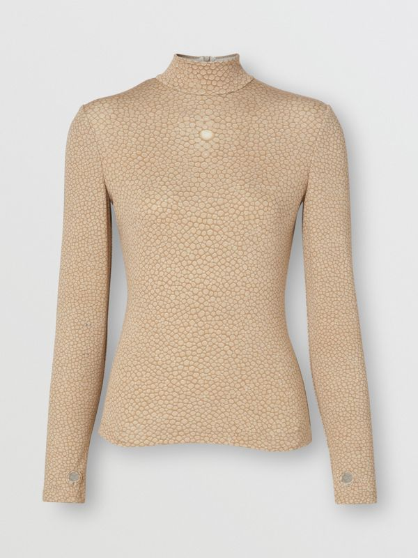 Fish-scale Print Stretch Jersey Turtleneck Top in Light Sand - Women | Burberry - cell image 3