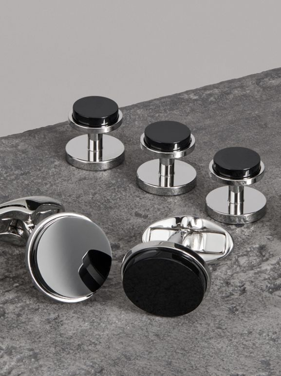 Engraved Agate Stud and Cufflink Set in Black - Men | Burberry - cell image 1