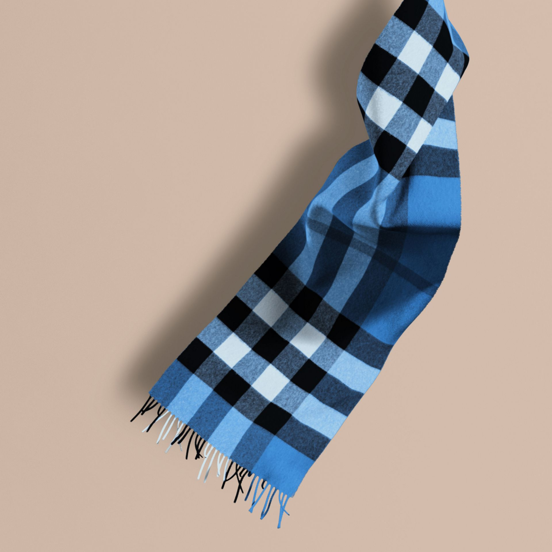 The Large Classic Cashmere Scarf in Check in Bright Cornflower Blue - gallery image 1