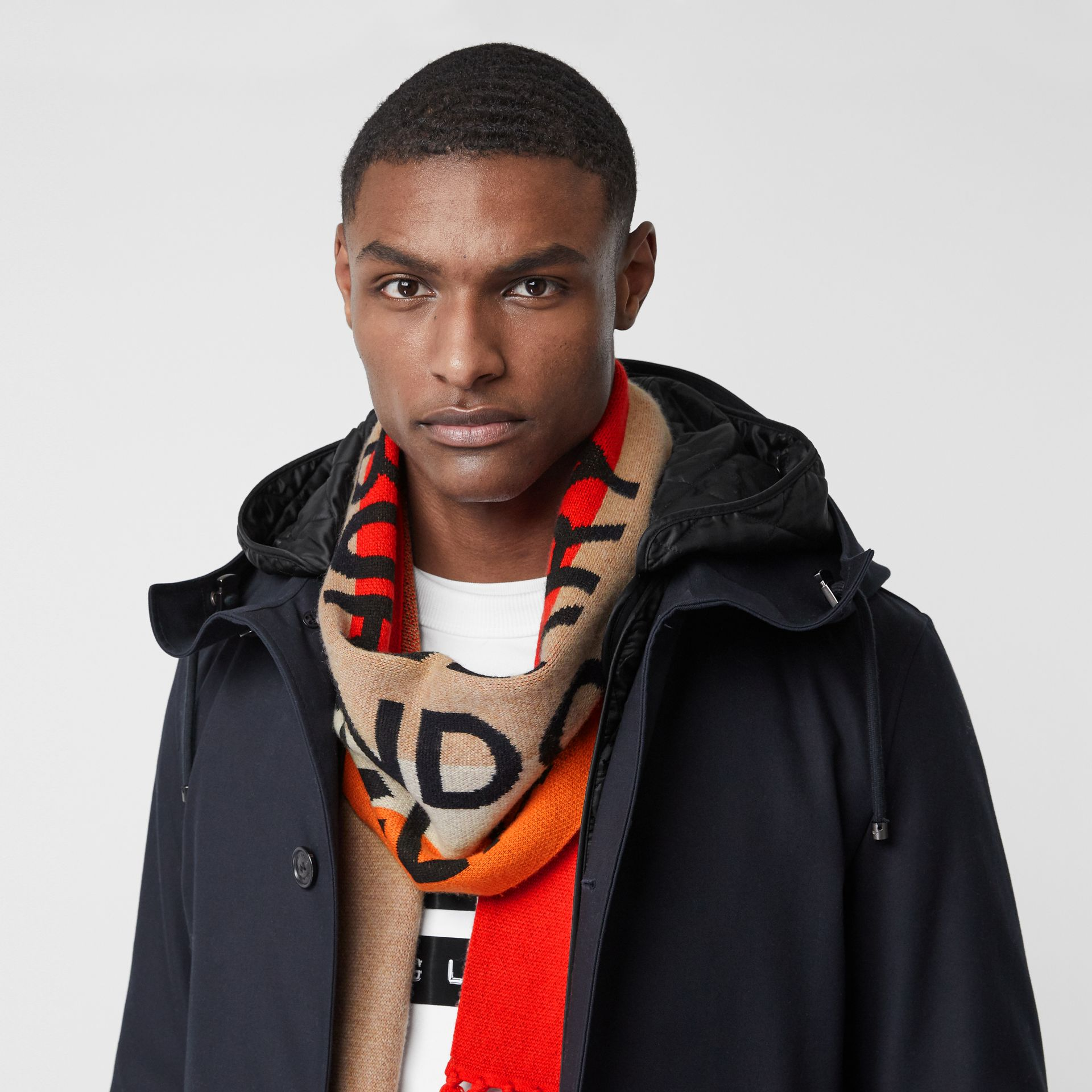 Logo Detail Striped Cashmere Jacquard Scarf in Bright Orange | Burberry United States - gallery image 2