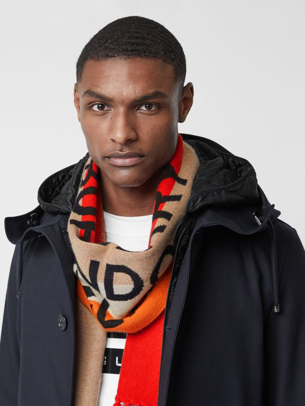 Logo Detail Striped Cashmere Jacquard Scarf in Bright Orange | Burberry United States - cell image 2