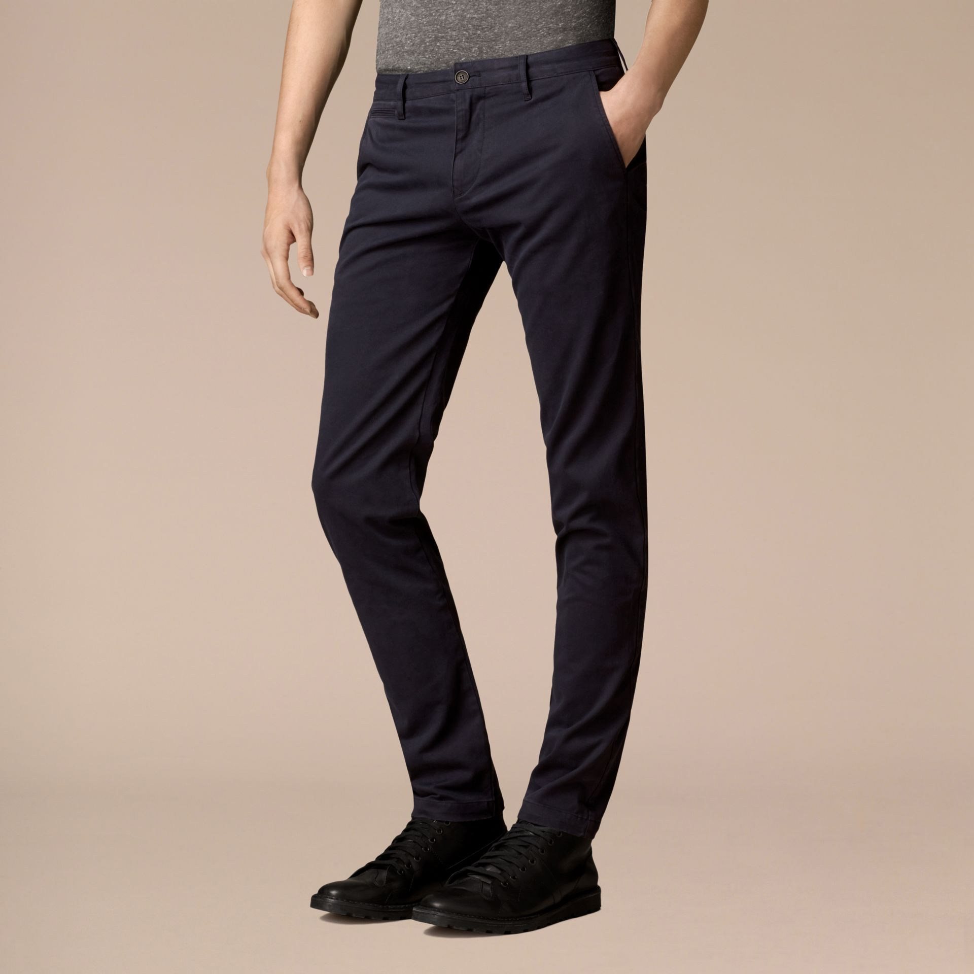 Navy Slim Fit Stretch-Cotton Twill Chinos Navy - gallery image 4