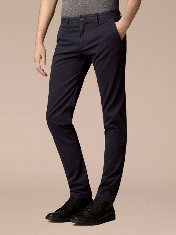Navy Slim Fit Stretch-Cotton Twill Chinos Navy - cell image 3