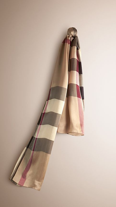Smoked trench check Check Silk Satin Scarf - Image 1