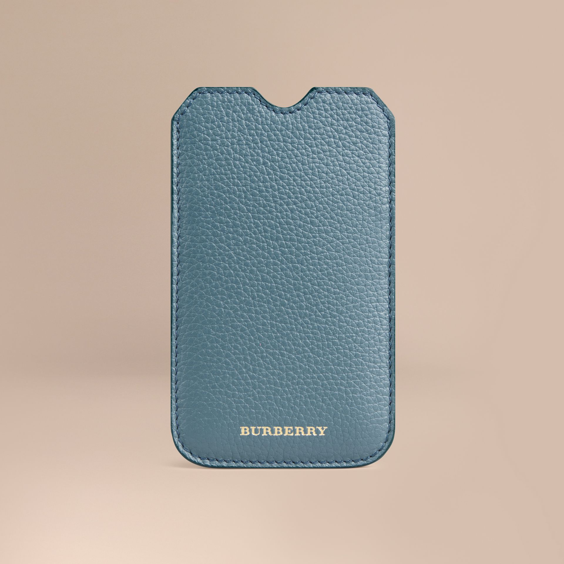 Grainy Leather iPhone 5/5S Case in Dusty Teal | Burberry - gallery image 1