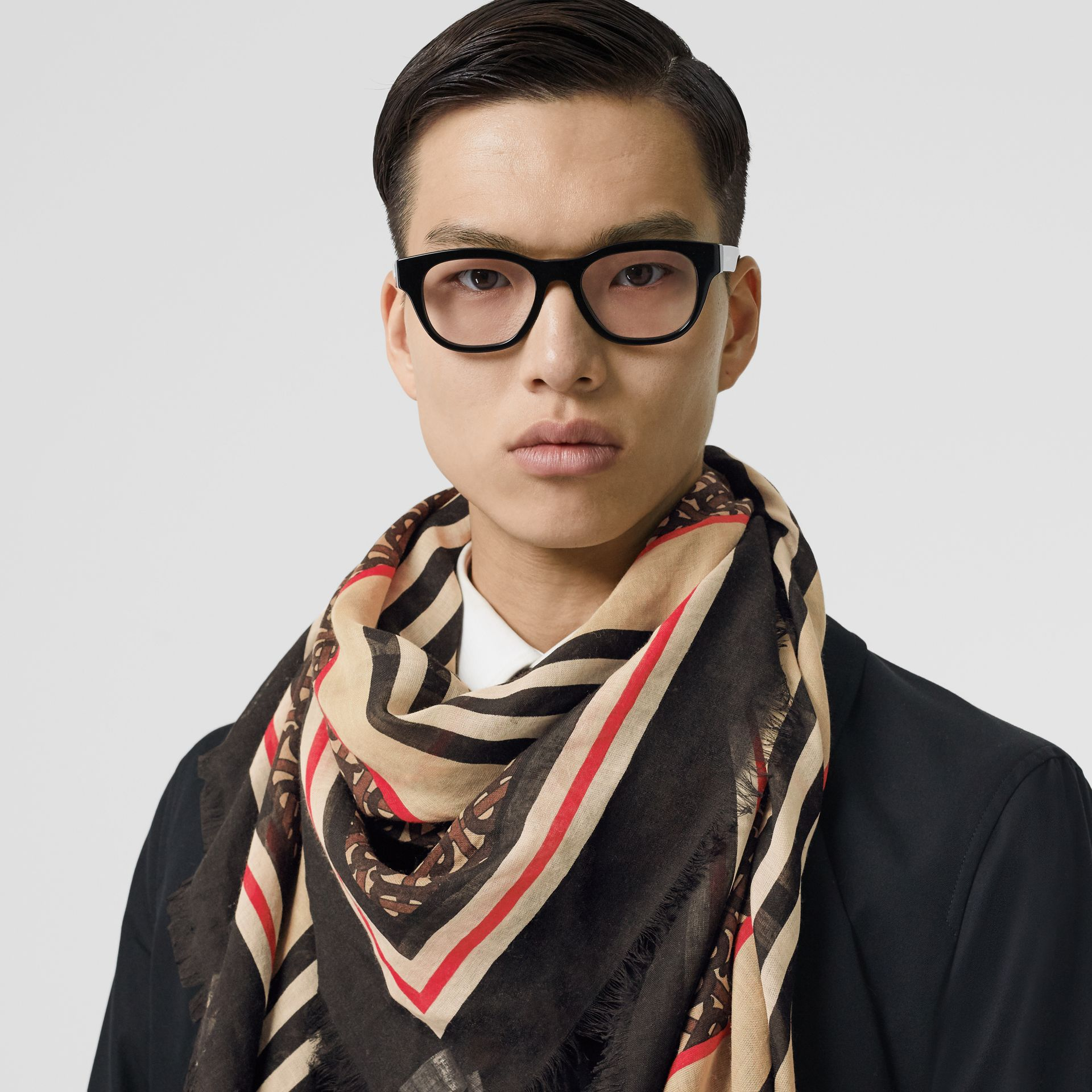 Icon Stripe Monogram Print Wool Silk Square Large Scarf in Dark Mocha | Burberry Australia - gallery image 3