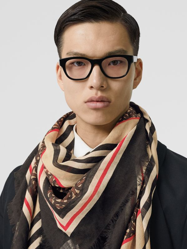 Icon Stripe Monogram Print Wool Silk Square Large Scarf in Dark Mocha | Burberry Australia - cell image 3