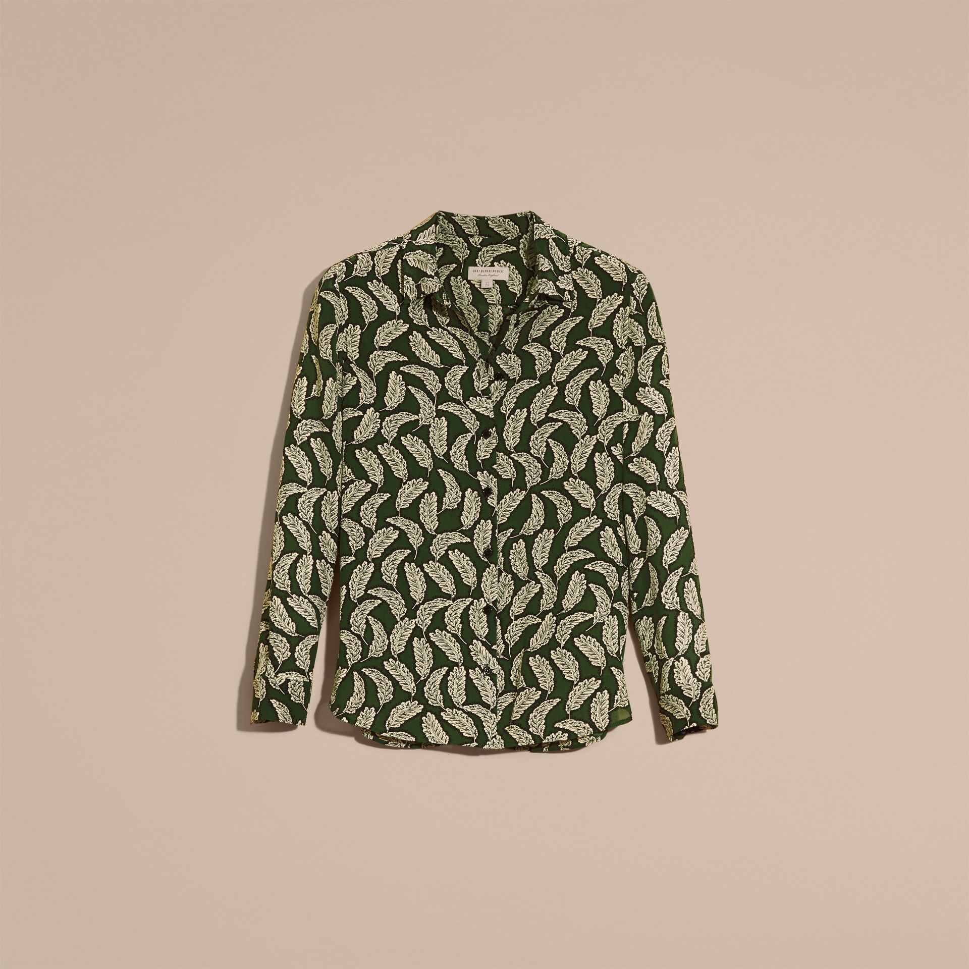 Dusty green Leaf Print Silk Shirt Dusty Green - gallery image 4