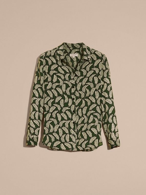 Dusty green Leaf Print Silk Shirt Dusty Green - cell image 3