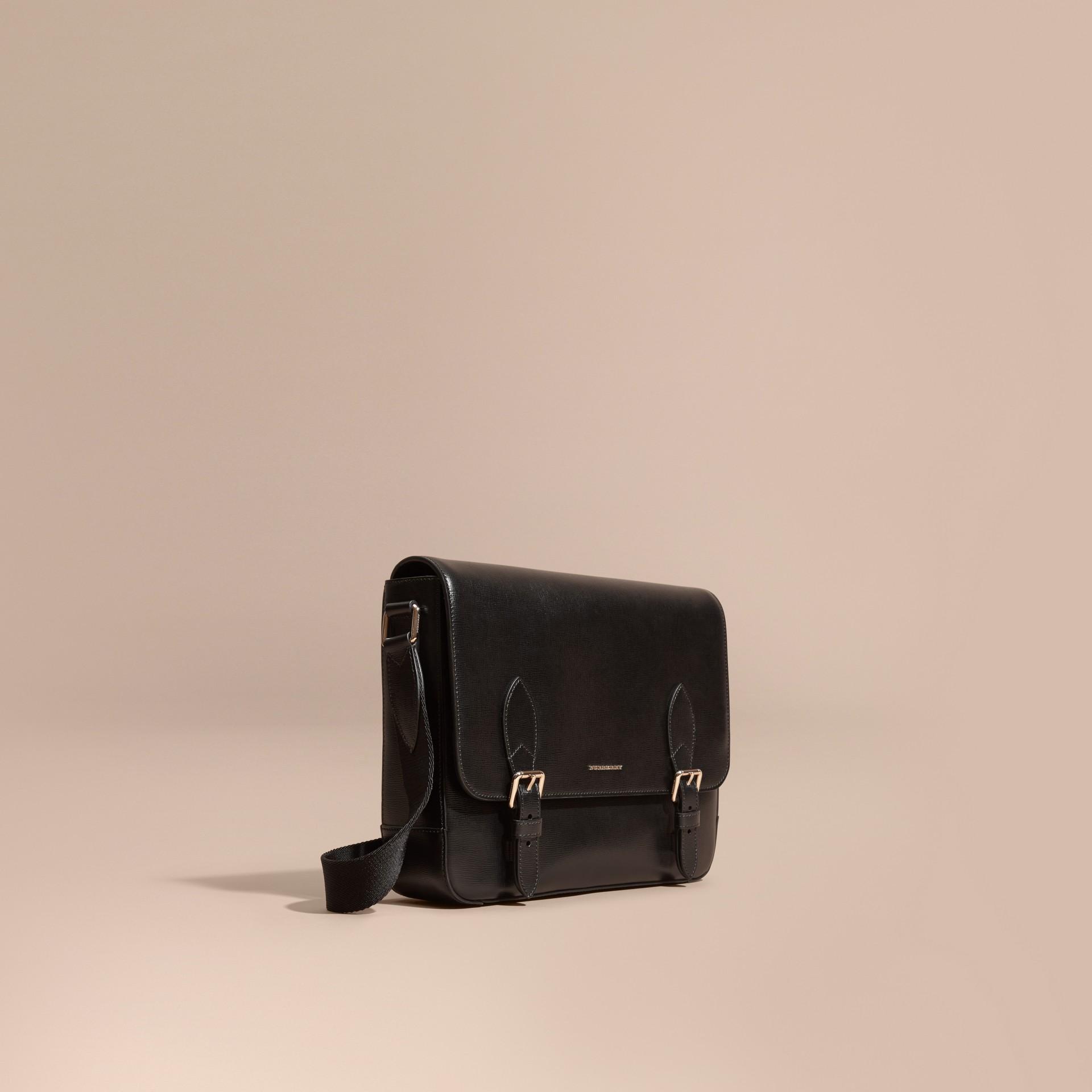 Nero Borsa messenger media in pelle London Nero - immagine della galleria 1