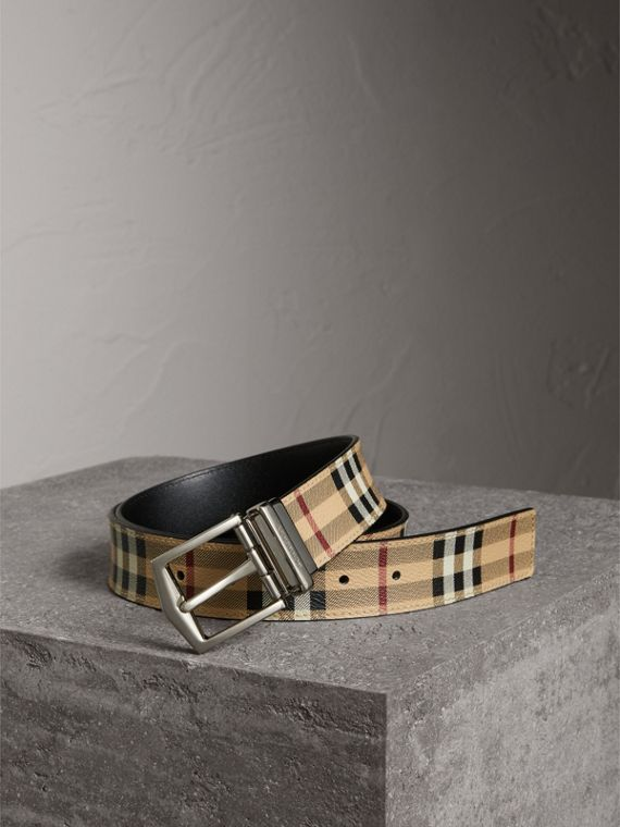 Reversible Haymarket Check and Leather Belt in Black