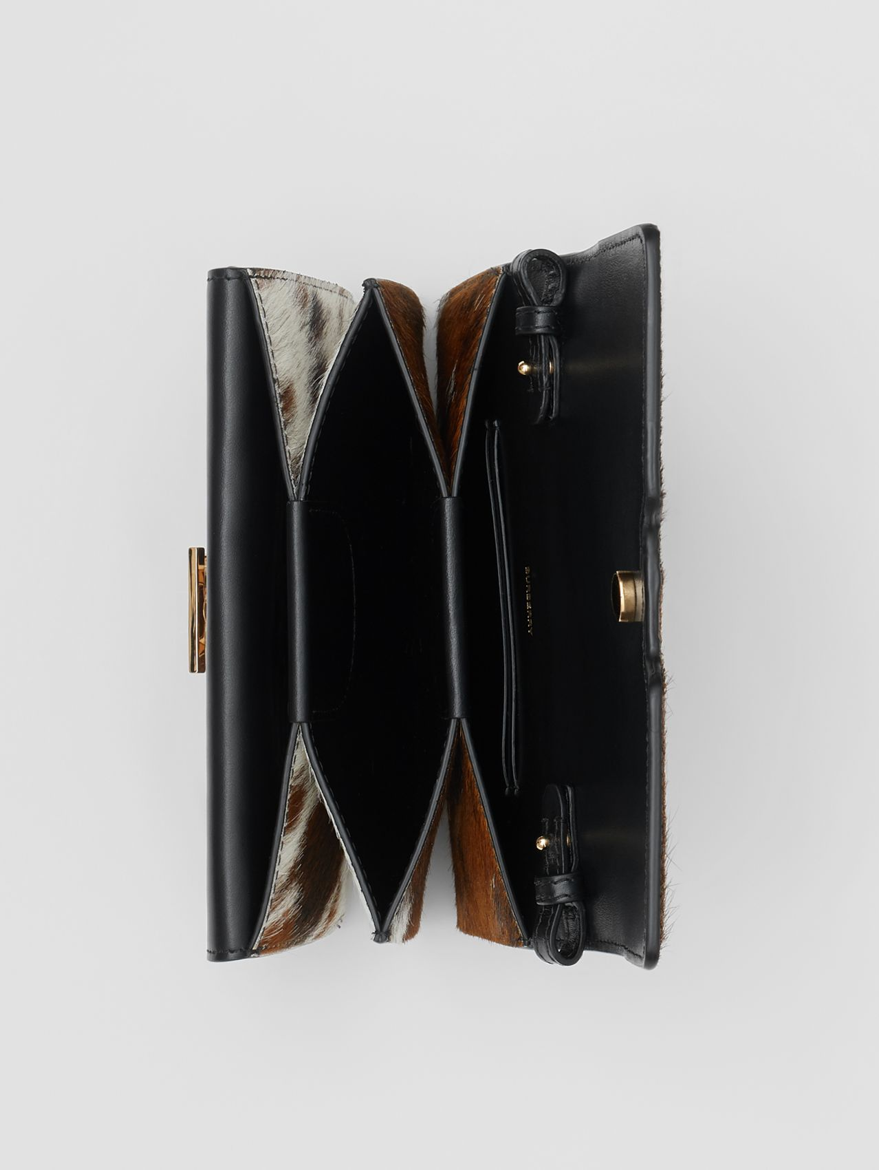 Mini Calf Hair and Leather Shoulder Bag in Black