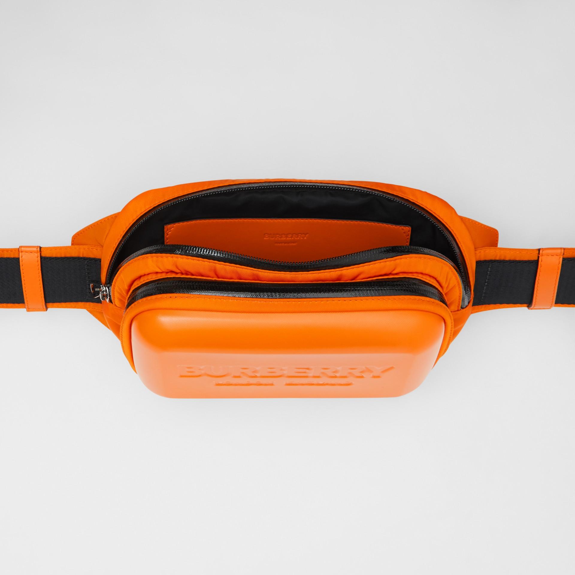 Logo Embossed Panel Nylon Bum Bag in Bright Orange - Men | Burberry United Kingdom - gallery image 3